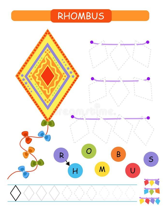 Lär former och geometriska diagram för förträning och tryckbar arbetssedel för dagis Tecknad filmvektorillustration - romb royaltyfri illustrationer