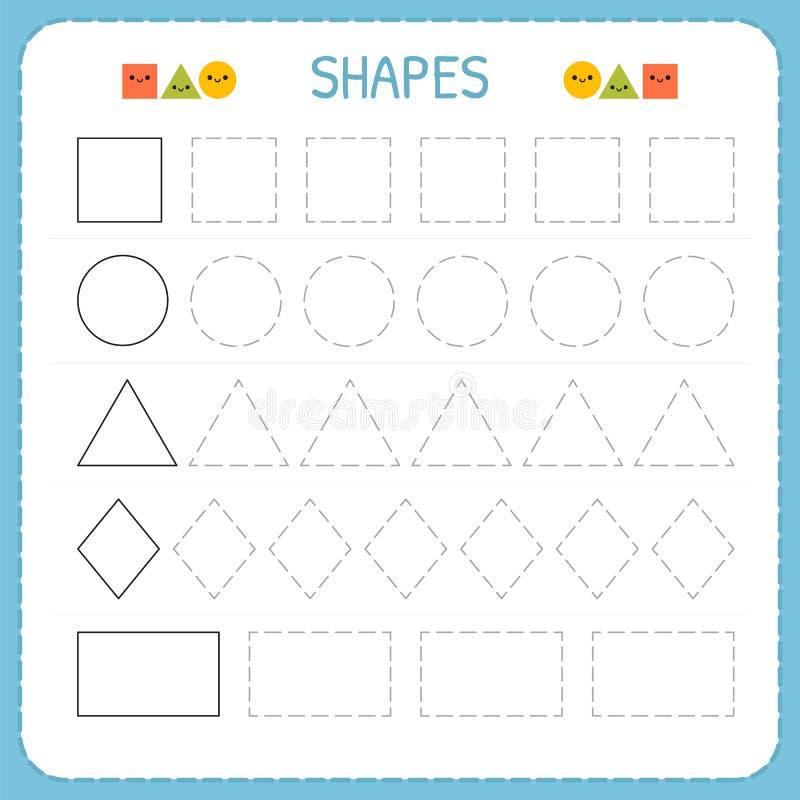 Lär former och geometriska diagram Förträning eller dagisarbetssedel för praktiserande motorisk expertis Spårande rusade linjer vektor illustrationer