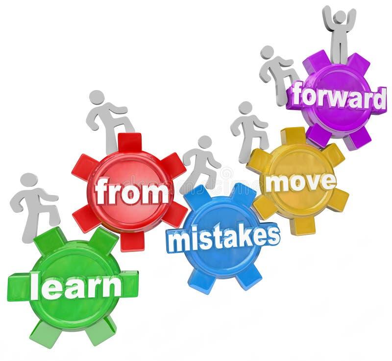 Lär från fel flyttar framåtriktat folk som klättrar kugghjul stock illustrationer