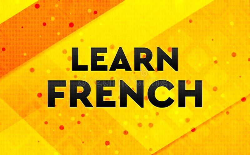 Lär gul bakgrund för det franska abstrakta digitala banret stock illustrationer