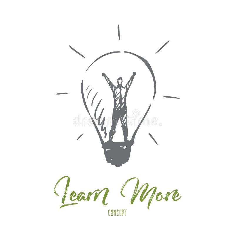 Lär mer, information, kunskap, framgång, studiebegrepp Hand dragen isolerad vektor stock illustrationer