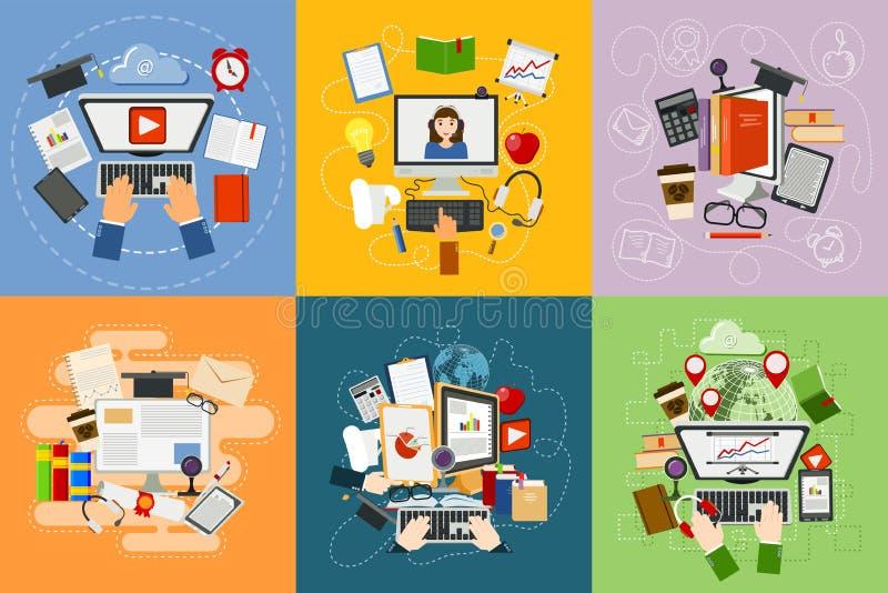 Lär mobil service för den online-för utbildningsbegreppsstudien som för lägenheten rengöringsduken för designen e-lär, informatio stock illustrationer