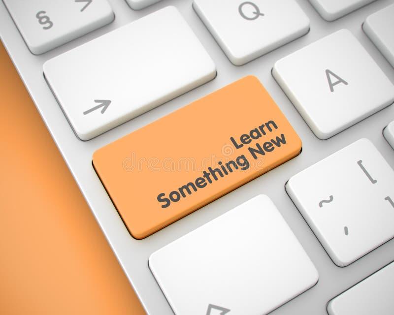 Lär något Ny-meddelandet på den orange tangentbordtangenten 3d royaltyfri illustrationer
