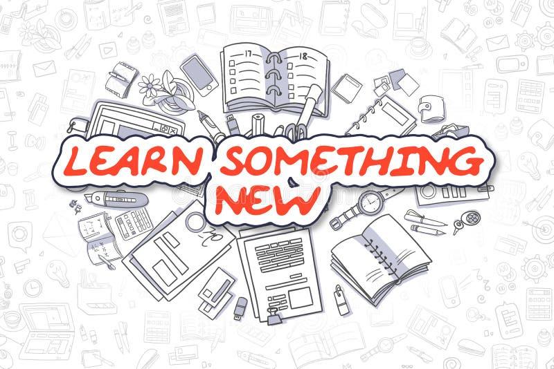Lär något som är ny - röd text för tecknade filmen äganderätt för home tangent för affärsidé som guld- ner skyen till stock illustrationer