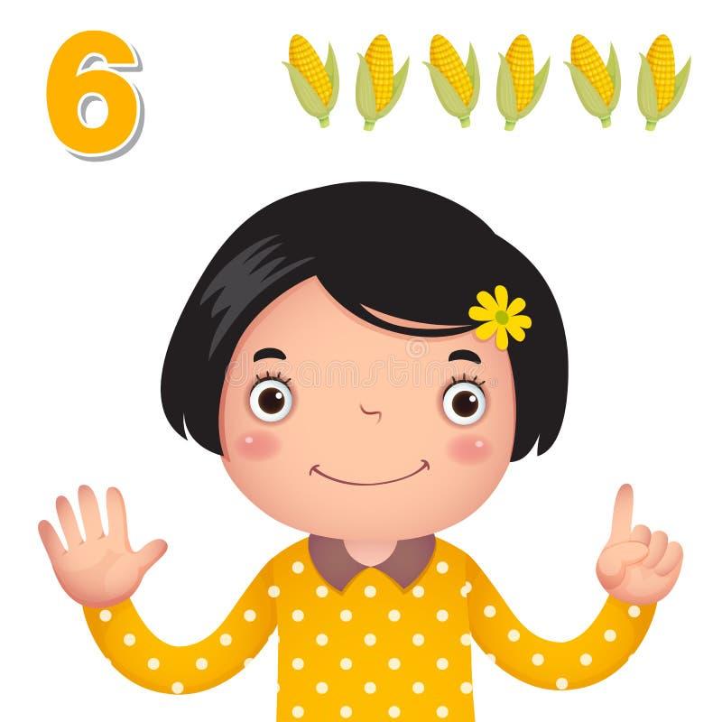 Lär numret och att räkna med kid'shanden som visar numret s royaltyfri illustrationer