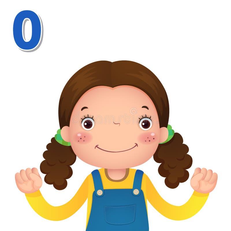 Lär numret och att räkna med kid'shanden som visar numret z vektor illustrationer