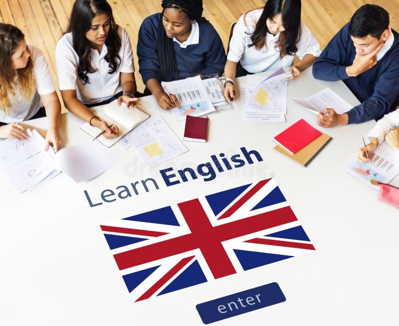 Lär online-utbildningsbegreppet för det engelska språket arkivbilder