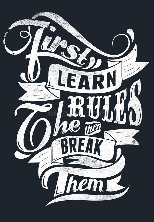 Lär reglerna stock illustrationer