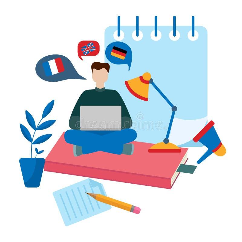 Lära begrepp för utländska språk lära online Språkkurser royaltyfri illustrationer