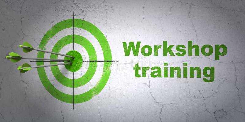 Lära begrepp: mål- och seminariumutbildning på väggbakgrund royaltyfri foto