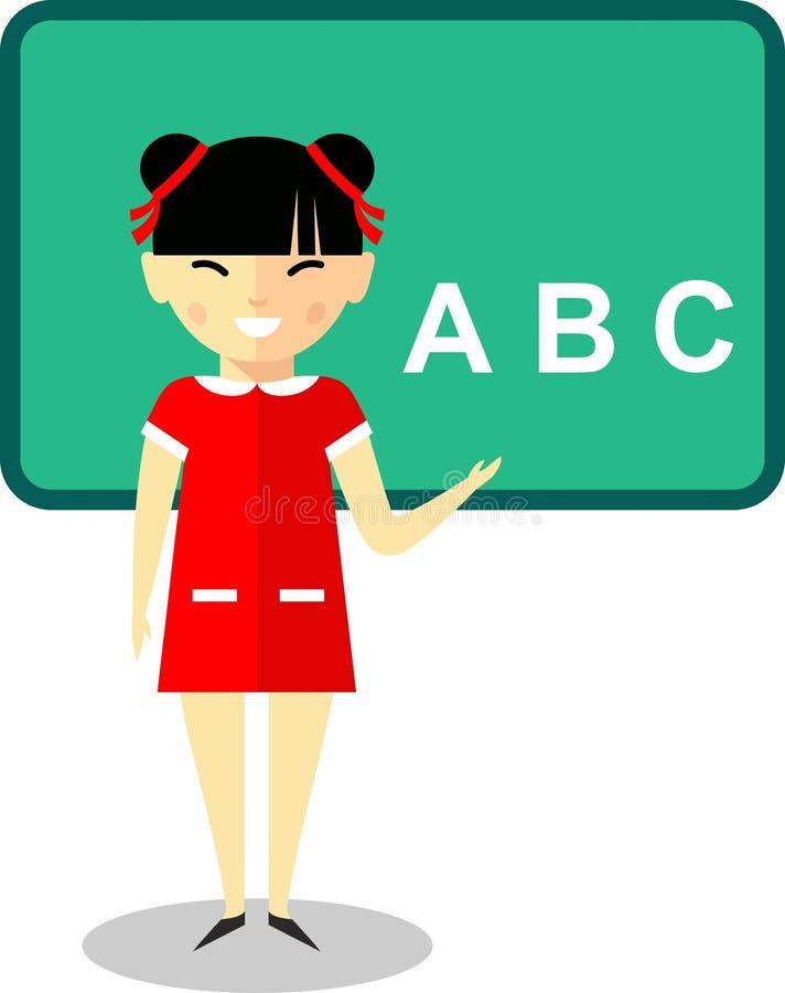 Lära begrepp med asiatiska skolbarn near svart tavla vektor illustrationer
