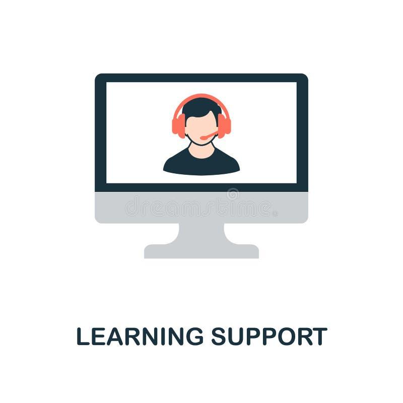 Lära den plana symbolen för service Monokrom stildesign från online-utbildningssymbolssamling UI och UX Perfekt plant lära för PI royaltyfri illustrationer