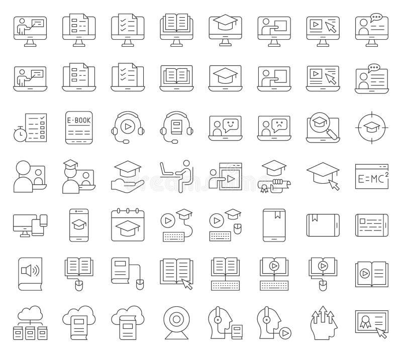 Lära för E och bildad online-symbolsuppsättning, redigerbar slaglängd för översikt stock illustrationer