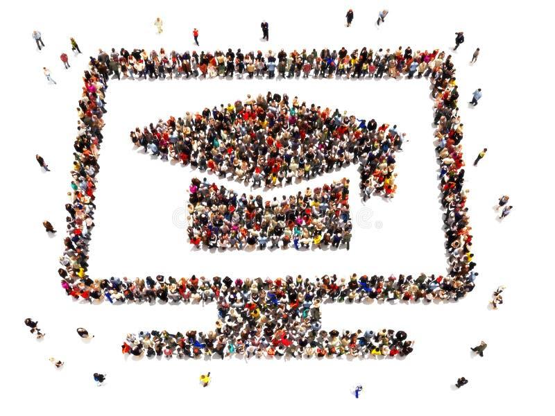 Lära för E Stor grupp människor som bildar symbolet av en dator Online-utbildningsbegrepp på en isolerad vit bakgrund stock illustrationer