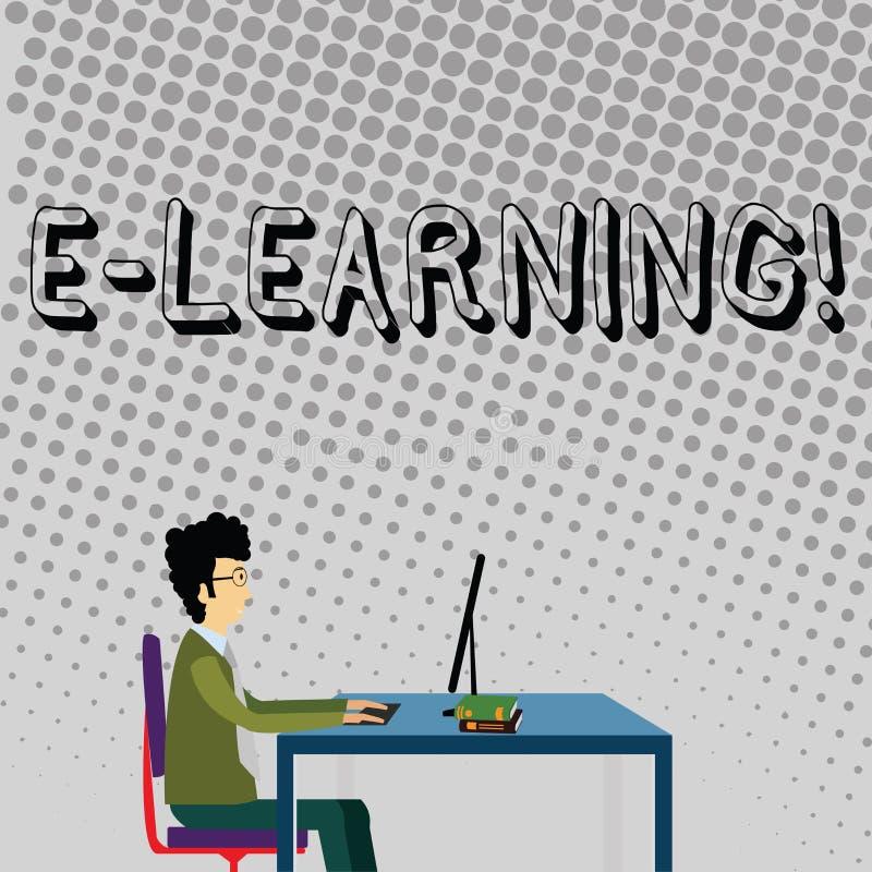 Lära för handskrifttext E Begreppet som betyder utbildning av den avlägsna skola rengöringsduken för internet, jagar studieaffärs vektor illustrationer
