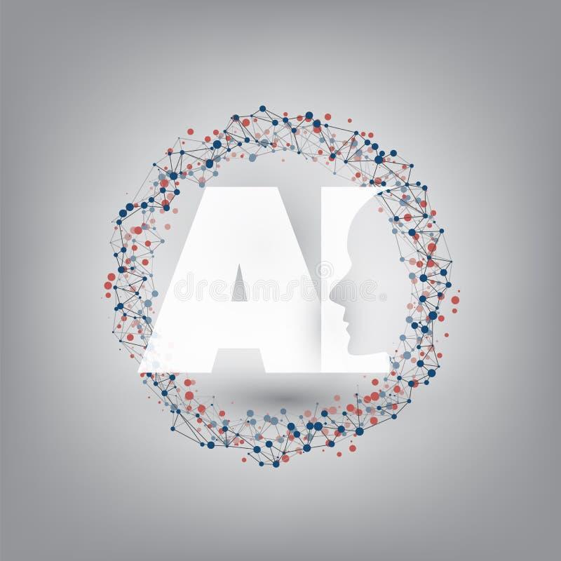 Lära för maskin, konstgjord intelligens, Cloud Computing och nätverksdesignbegrepp med nätverket Mesh Ring och AI-etiketten stock illustrationer
