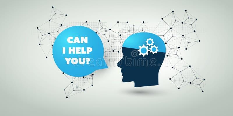 Lära för maskin, konstgjord intelligens, moln som beräknar, automatiserad servicehjälp och nätverksdesignbegrepp stock illustrationer
