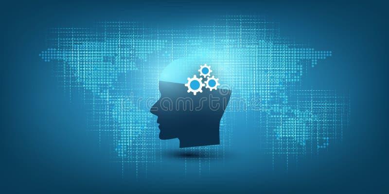 Lära för maskin, konstgjord intelligens, moln som beräknar, automatiserad servicehjälp och nätverksdesignbegrepp vektor illustrationer