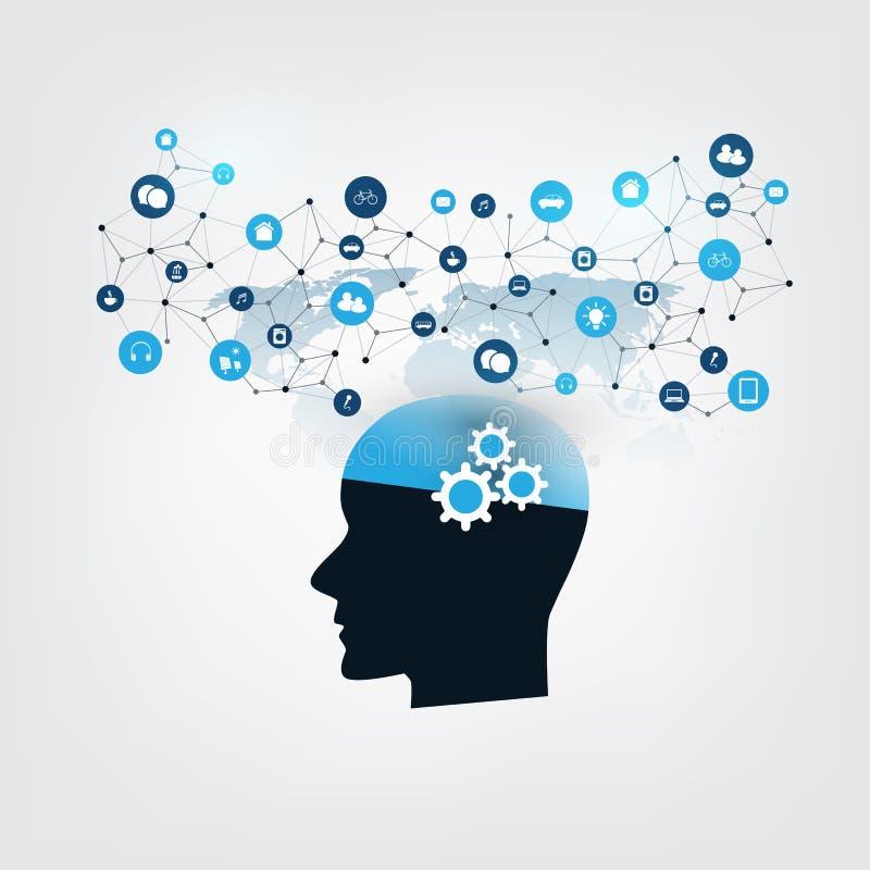 Lära för maskin, konstgjord intelligens och nätverksdesignbegrepp med symboler och det mänskliga huvudet royaltyfri illustrationer
