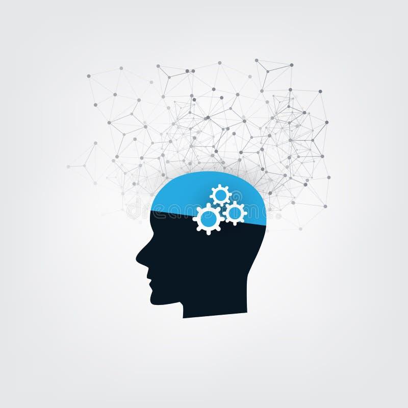 Lära för maskin, konstgjord intelligens och nätverksdesignbegrepp med symboler och det mänskliga huvudet vektor illustrationer