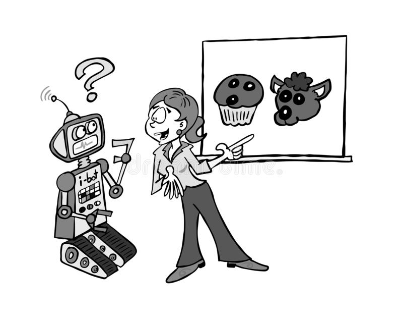 Lära för maskin Sophie BW royaltyfri illustrationer