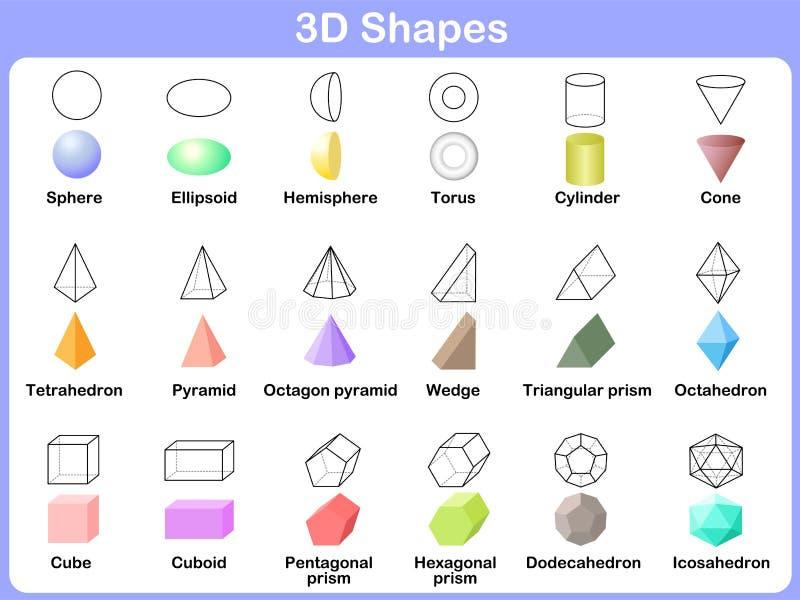 Lära formerna 3D för ungar vektor illustrationer