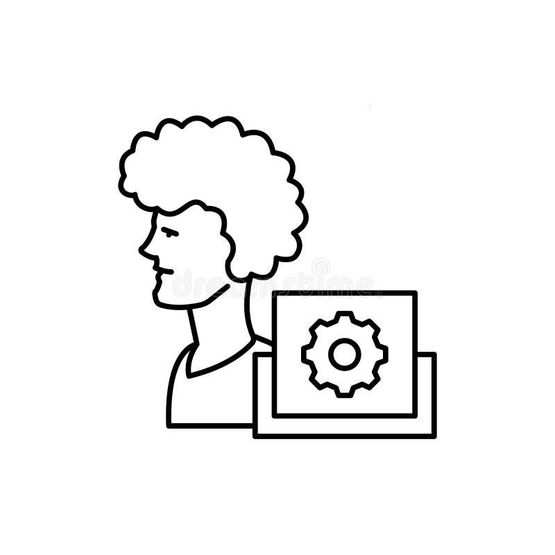 Lära man, kugghjulsymbol Beståndsdel av utbildningslinjen symbol arkivfoto