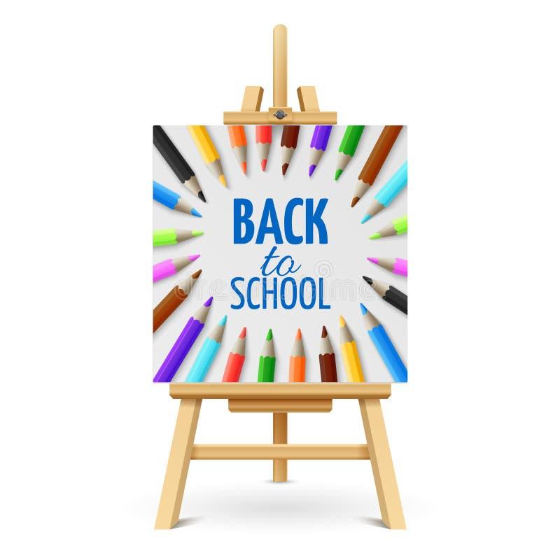 Lära och skolutbildningvektorbegrepp Dra tillbaka till skolabakgrund med 3d färgade blyertspennor på den isolerade wood staffli royaltyfri illustrationer