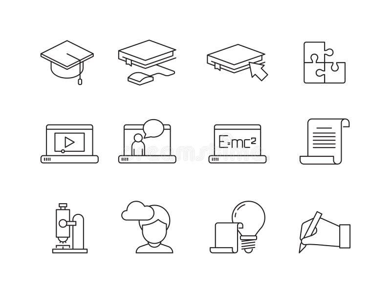 Lära symbolen Online-utbildningsutbildningskurser särskola eller isolerade linjära symboler för universitetappvektor royaltyfri illustrationer