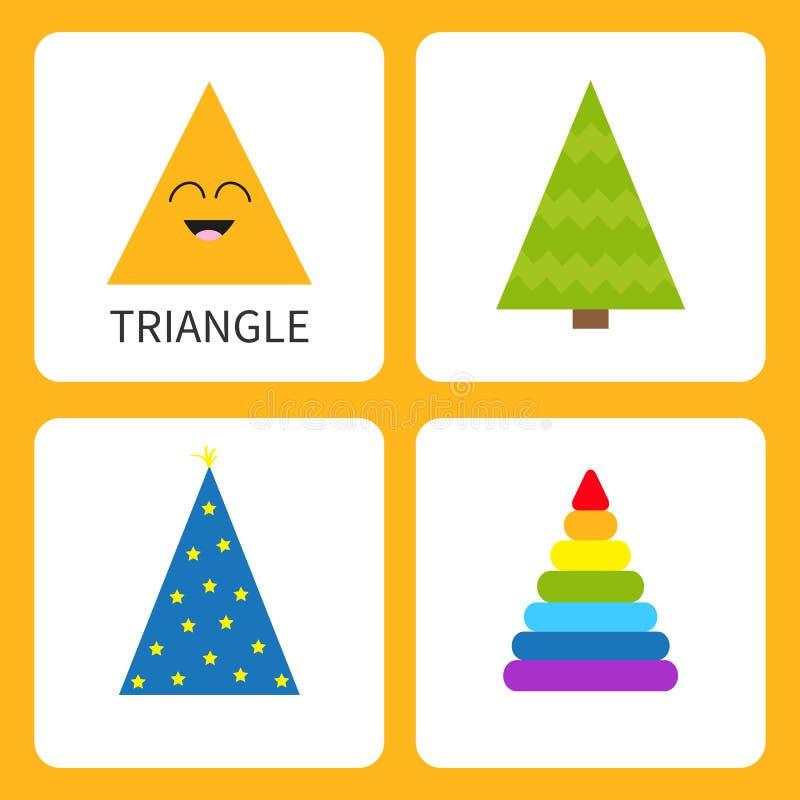 Lära triangelformform le för framsida Gulligt tecknad filmtecken hatt för trollkarl för Gran-träd julgran magisk, färgrik pyramid stock illustrationer