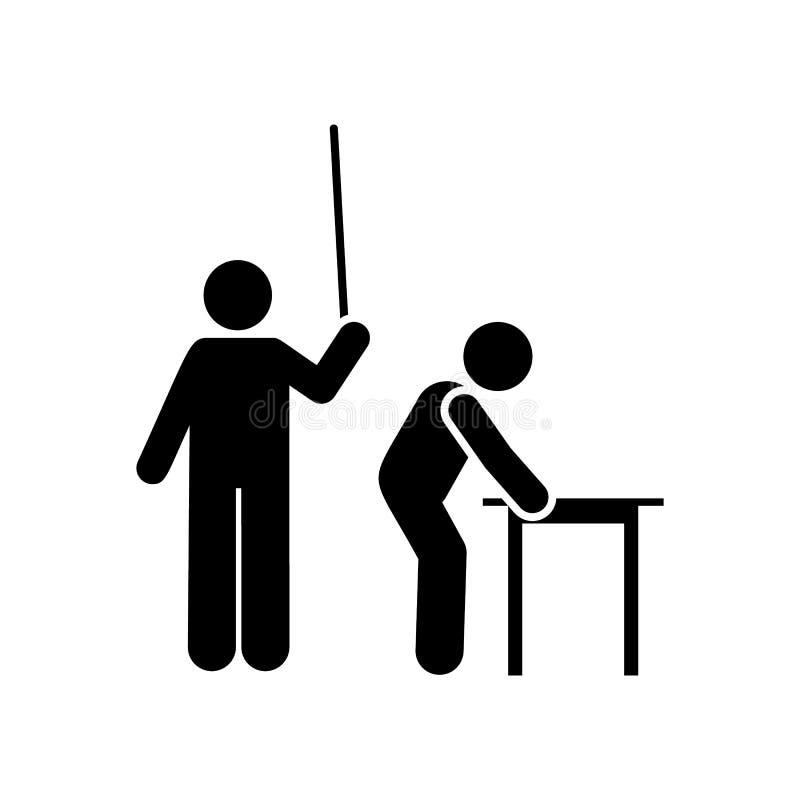 Lärare bestraffning, pojke, skolasymbol Best?ndsdel av utbildningspictogramsymbolen H?gv?rdig kvalitets- symbol f?r grafisk desig stock illustrationer