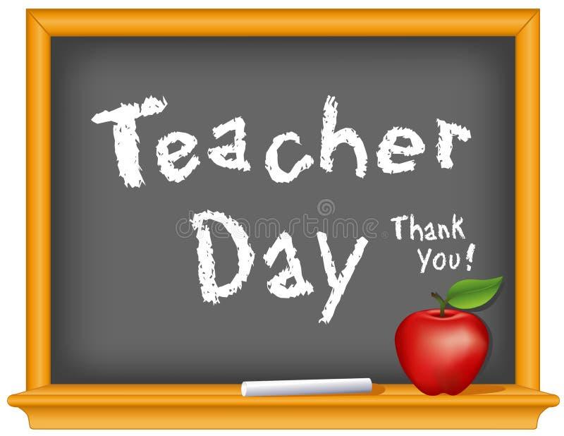 Lärare Day, nationell ferie på tisdag av den första fulla veckan av Maj, kritatext på den svart tavlan för träram, tacka di royaltyfri illustrationer