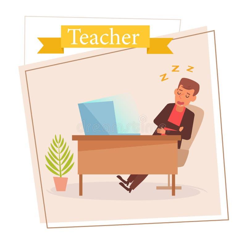 Lärare eller affärsman Vector cartoon Isolerad konst på vit bakgrund plant vektor illustrationer