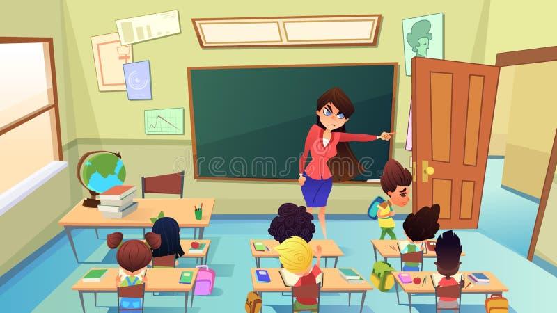 Lärare Excluding Pupil från grupptecknad filmvektor vektor illustrationer
