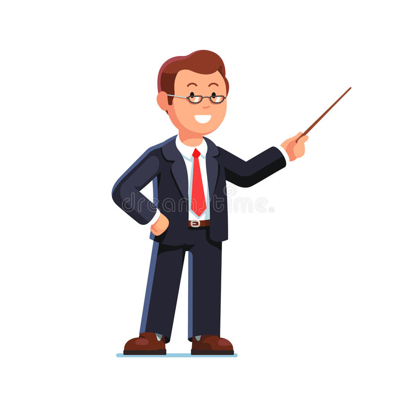 Lärare för affärsman som pekar med pekarepinnen stock illustrationer