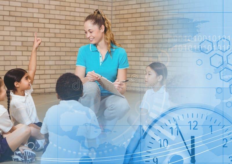 Lärare för fysisk utbildning med grupp stock illustrationer