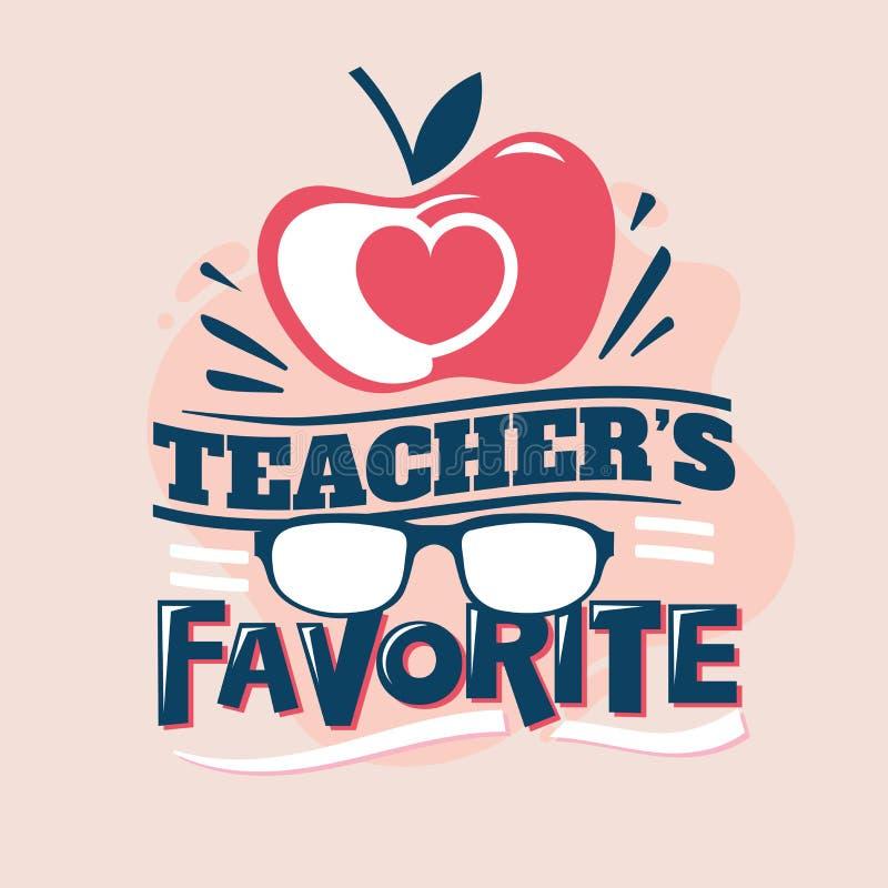 Lärare Favorite Phrase, Apple förälskelse med monokeln, tillbaka att skola illustrationen stock illustrationer