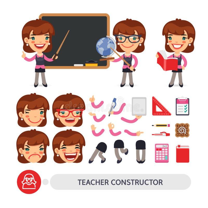Lärare Female Character Constructor vektor illustrationer