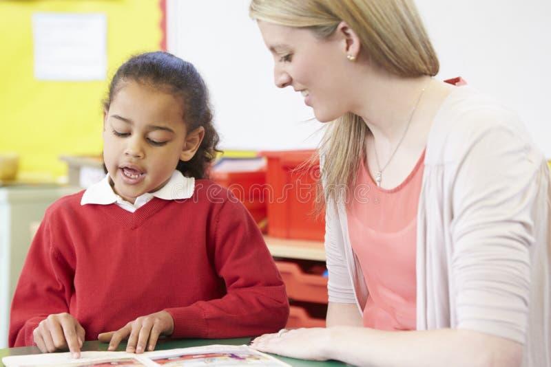 Lärare Helping Female Pupil med praktiserande läsning på skrivbordet fotografering för bildbyråer