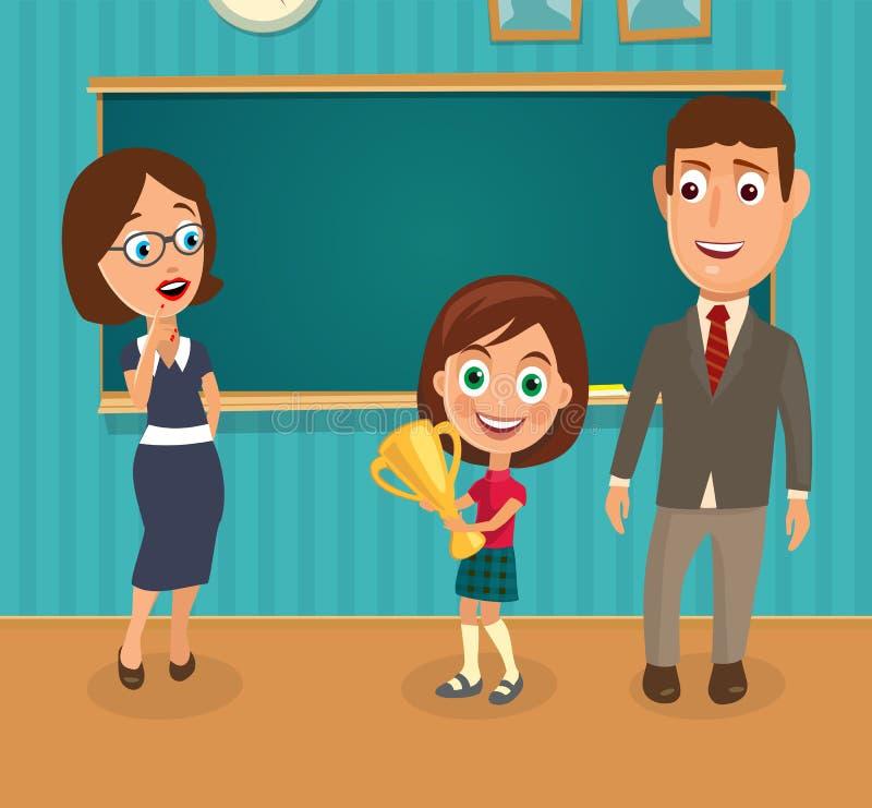 Lärare, man och flicka som rymmer en kopp Interior av klassrumet vektor illustrationer