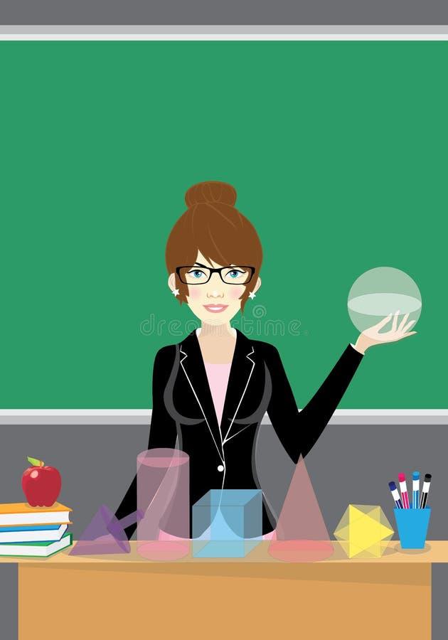Lärare med geometriska former för matematik arkivfoton