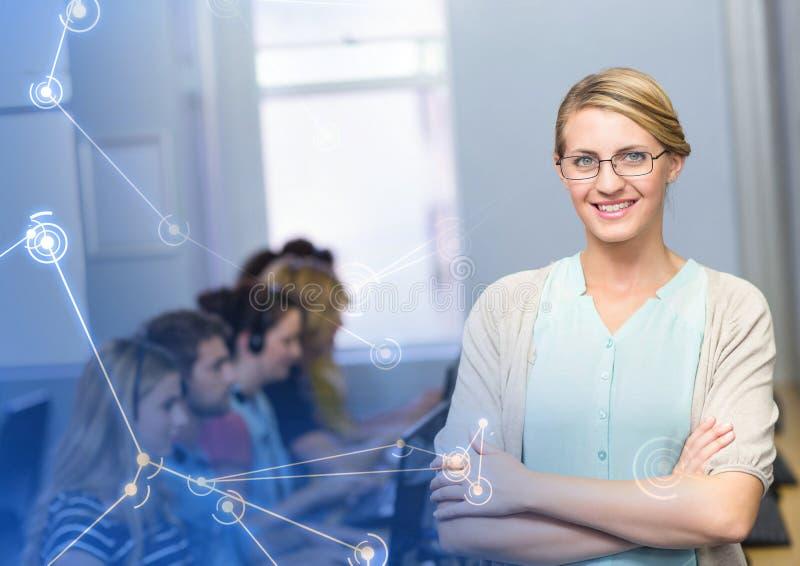 Lärare med studenter på datorer royaltyfri illustrationer