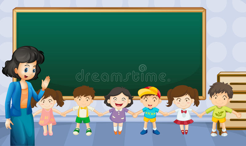 Lärare och studenter i klassrumet royaltyfri illustrationer