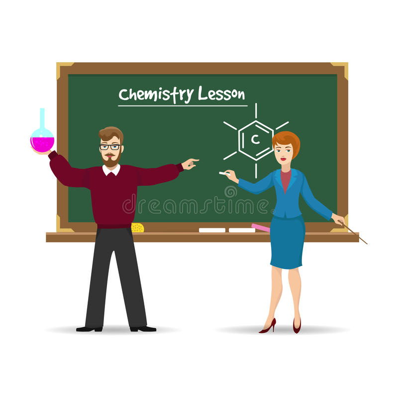 Lärare och svart tavla för kemi vektor illustrationer