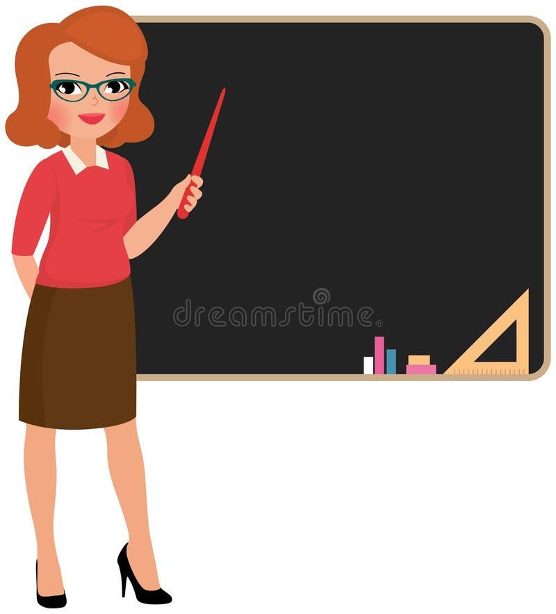 Lärare på blackboarden stock illustrationer