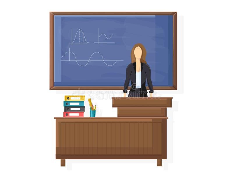 Lärare på den plana stilen för brädevektor Undervisande symbolsmallar för kurs royaltyfri illustrationer