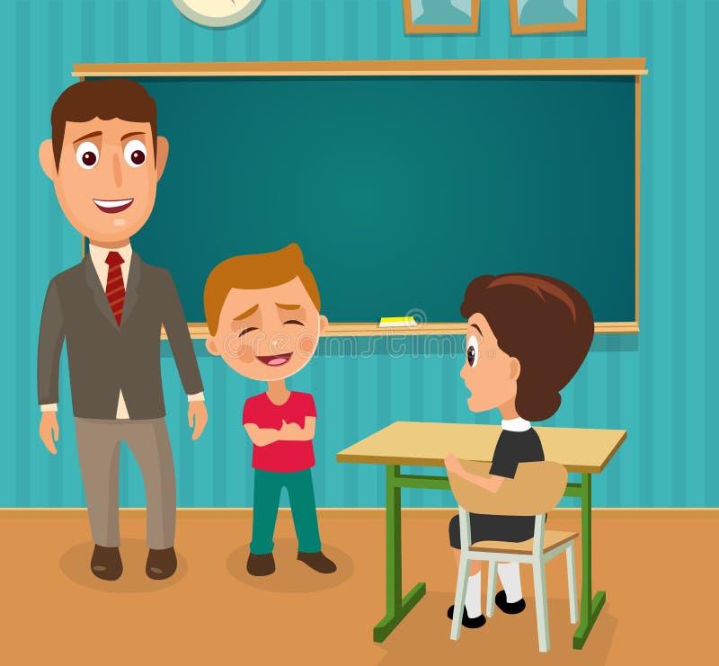 Lärare-, pojke- och skolflickasammanträde på ett skrivbord vektor illustrationer