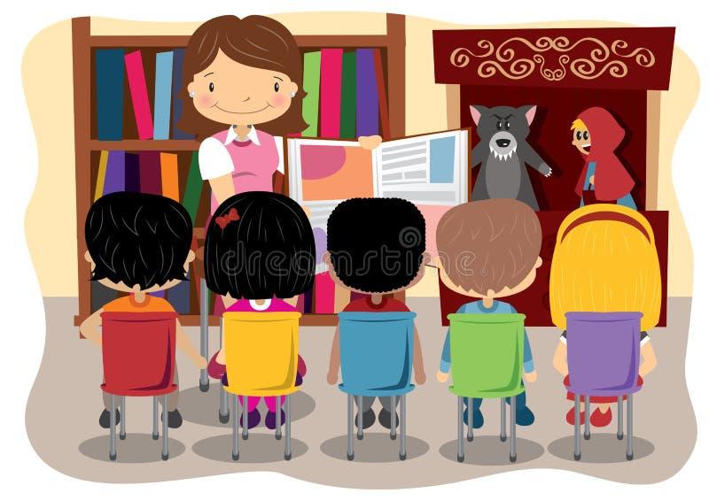 Lärare Reading och dockteaterföreställning stock illustrationer
