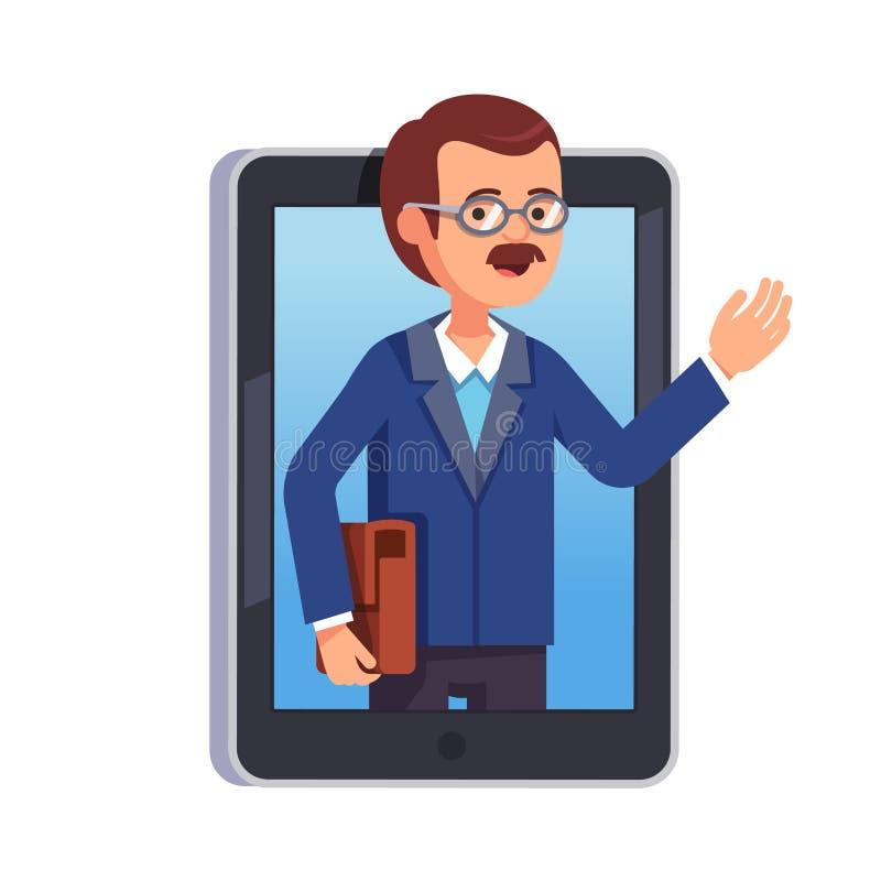 Lärare som förklarar något på en internetpratstund stock illustrationer