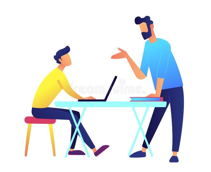 Lärare som ger en föreläsning, och student med bärbara datorn på skrivbordvektorillustrationen vektor illustrationer